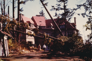 A Damaged Pittock Mansion After the Columbus Day Storm of 1962