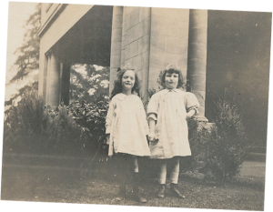 Pittock granddaughters infront of Pittock Mansion