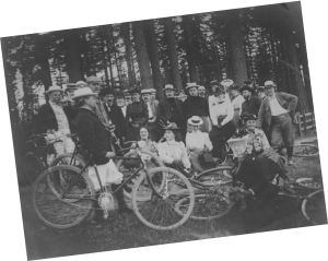 Henry Pittock and friends bicycling