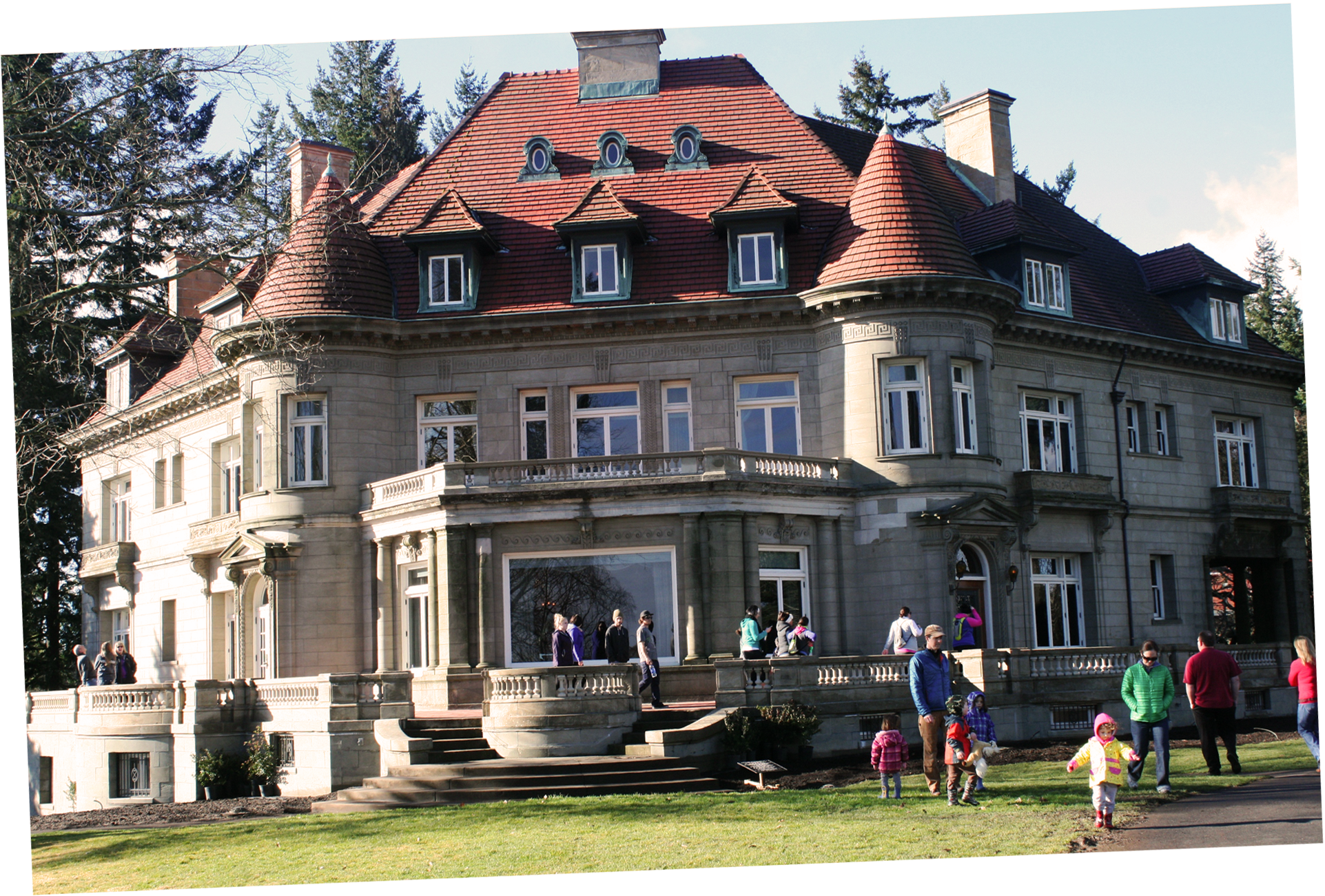 Pittock Mansion with guests