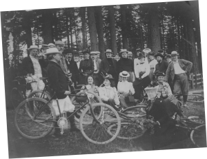 Henry Pittock biking with group