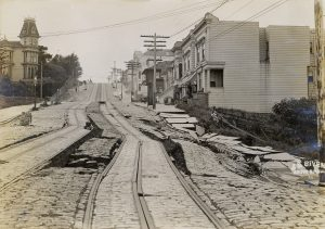 Damaged street after the 1906 San Francisco earthquake