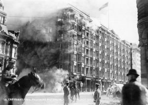 Fire at The Palace Hotel after the 1906 San Francisco earthquake