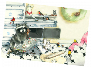 Illustration of raccoon, squirrel, mice and birds making a mess while baking Christmas cookies